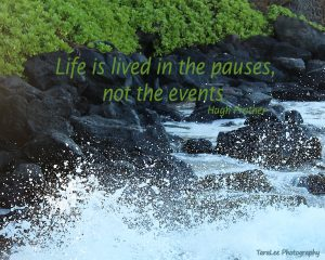 black rock, wave, hawaii, green-qoute